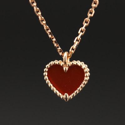 """Van Cleef & Arpels """"Sweet Alhambra Heart"""" 18K Carnelian Pendant Necklace"""
