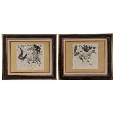 John H. Chen Ink Brush Paintings of Horses