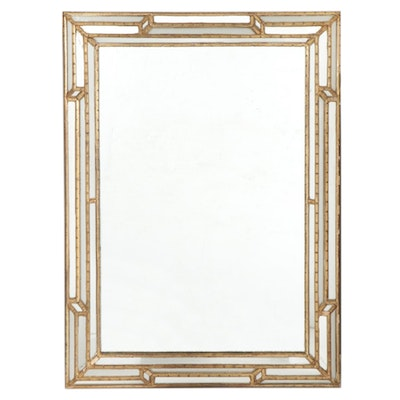 French Style Partial Gilt Beveled Framed Wall Mirror, Late 20th to 21st Century