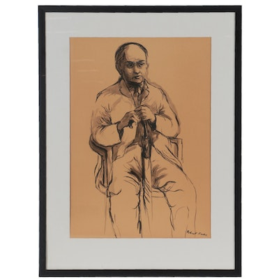 Robert Fabe Portrait Ink Drawing, 20th Century