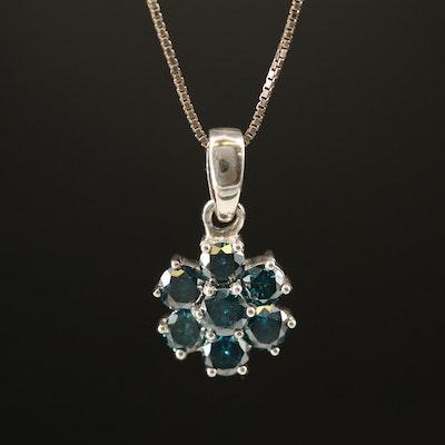 Sterling 1.08 CTW Diamond Pendant Necklace