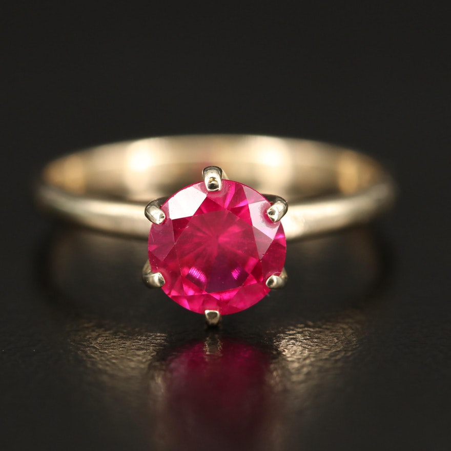 10K Ruby Solitaire Ring