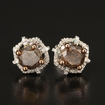 Sterling Silver 2.10 CTW Diamond Stud Earrings with Decorative Halos