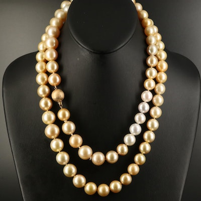 South Sea 10.94 MM-15.83 MM Pearl Necklace with 18K Diamond Clasp and GIA Report