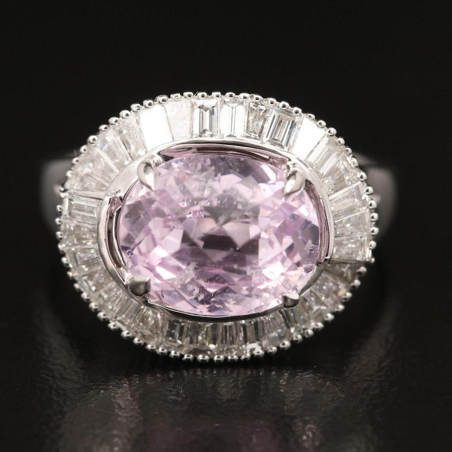 14K Kunzite and Diamond Ballerina Ring