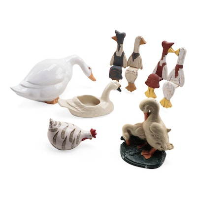 Painted Cast Iron Duck Doorstop with Other Decorative Accessories
