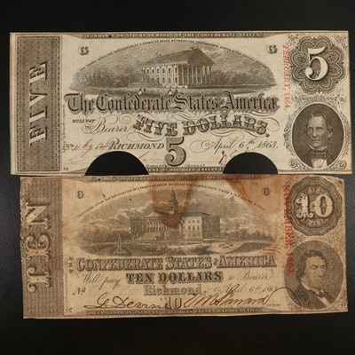 Confederate $10 and $5 T-59 and T-60 Obsolete Bank Notes, 1863