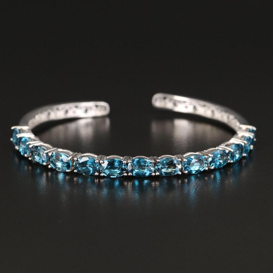 Sterling Silver London Blue Topaz Cuff