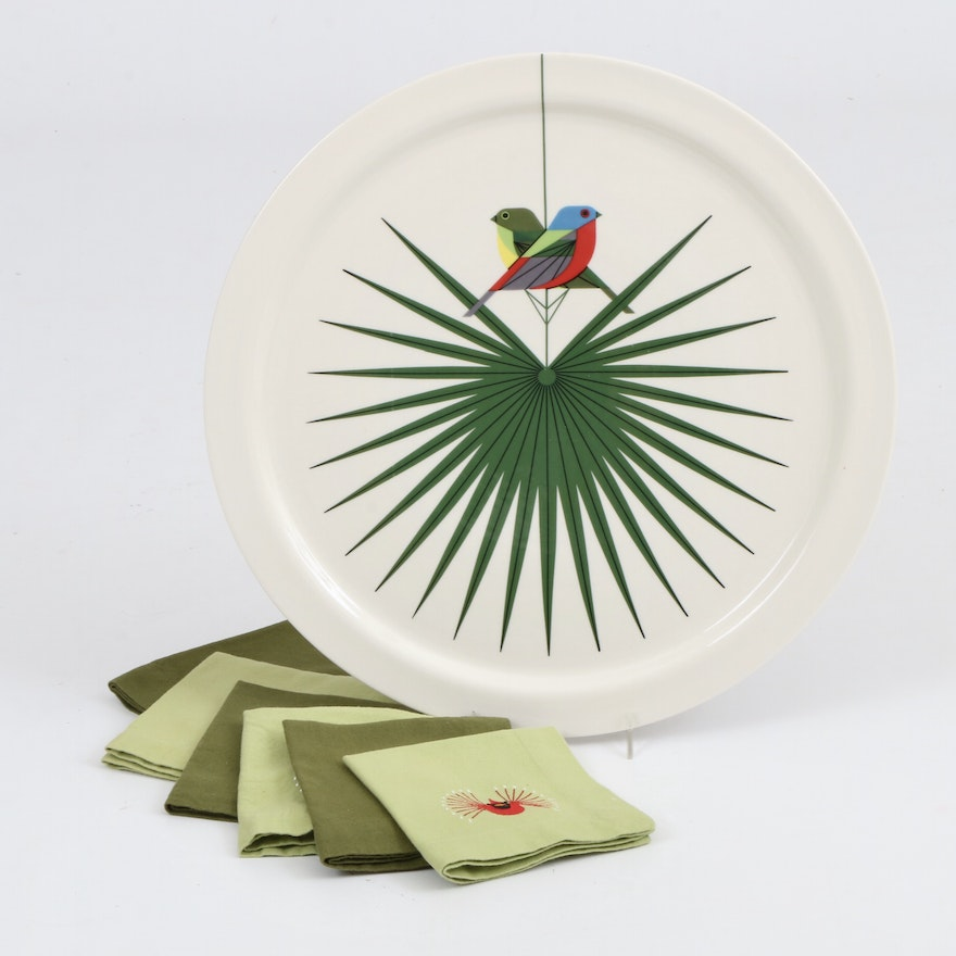 """Charley Harper """"Flamboyant Feathers"""" Serving Plate and Embroidered Napkins"""