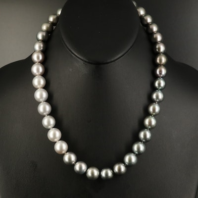Tahitian 11.72 MM-12.65 MM Pearl Necklace with 14K Diamond Clasp and GIA Report