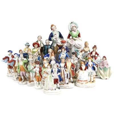 Japanese Porcelain Eighteenth Century European Style Figurines, Mid-20th Century