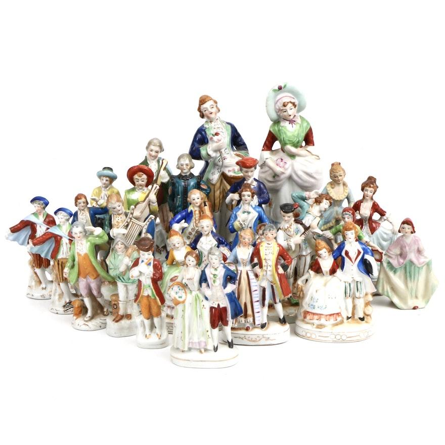 Japanese Porcelain Courtesan Figurines, Mid-20th Century