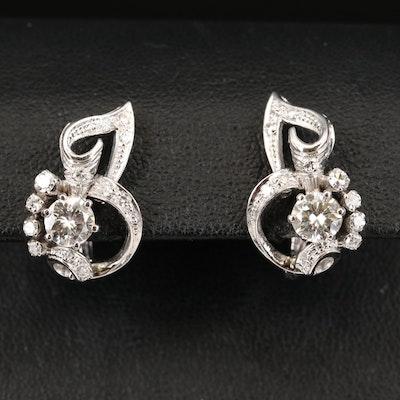 Retro 14K 1.29 CTW Diamond Ribbon Earrings