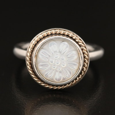 Pandora Sterling Silver Mother of Pearl Flower Ring