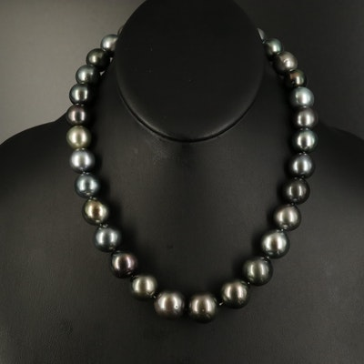 Tahitian Pearl 11.97 MM-15.91 MM Necklace with 18K Diamond Clasp and GIA Report