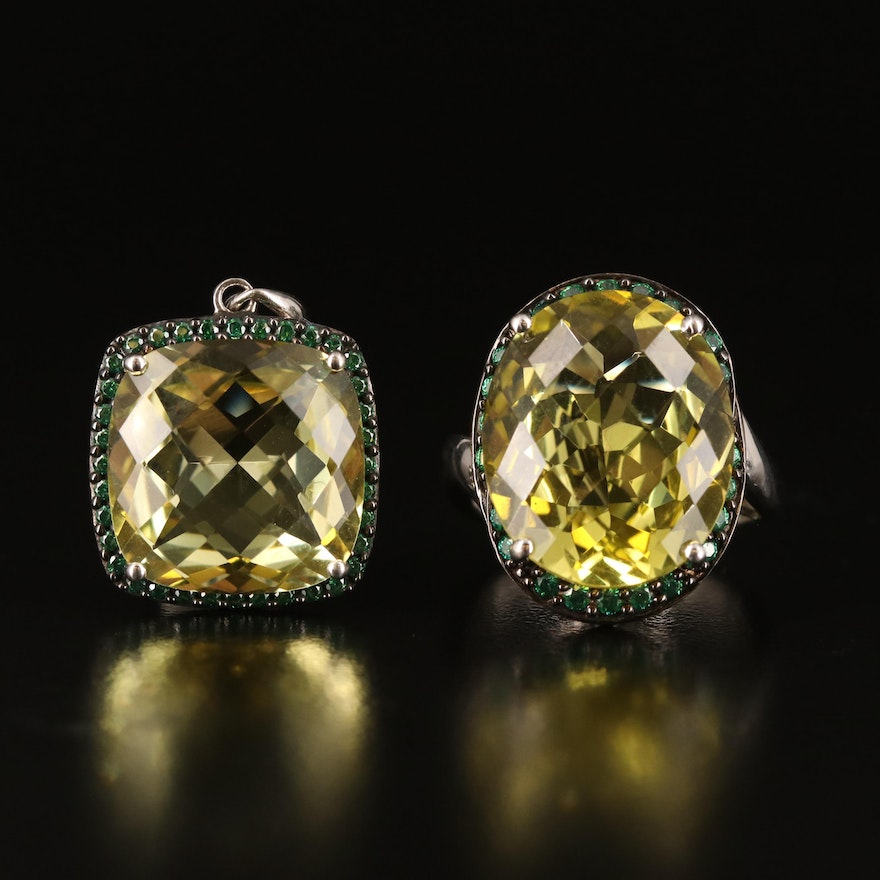 Sterling Quartz and Cubic Zirconia Ring and Pendant Set
