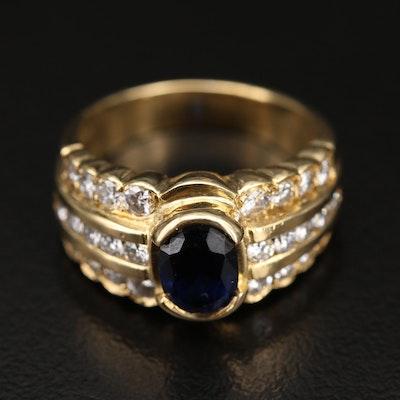 18K Sapphire and Diamond Multi-Row Ring