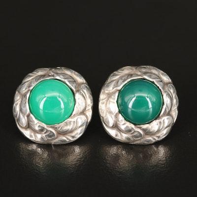 Danish Georg Jensen Sterling and Chalcedony Earrings