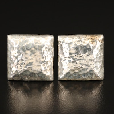 Mexican Sterling Silver Square Hammered Cufflinks