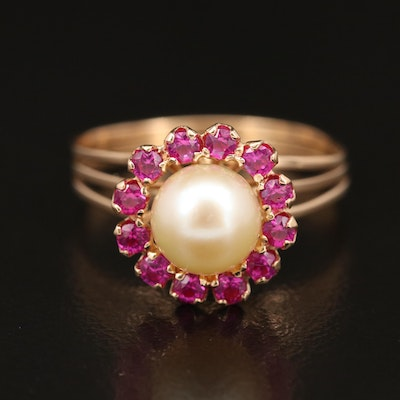 Vintaqe 14K Pearl and Ruby Halo Ring