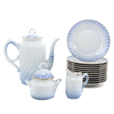 "Norwegian Porsgrund ""Maud"" Porcelain Coffee Pot, Creamer, Sugar and Plates"