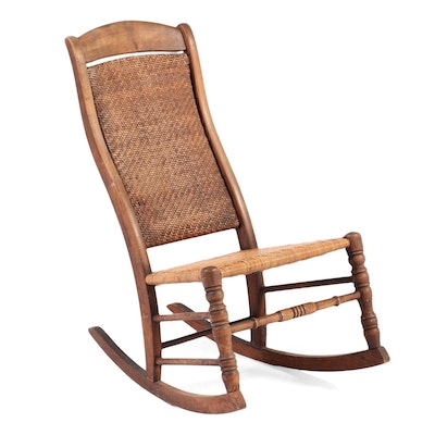 Victorian Rocking Chair Woven Cane and Walnut Rocking Chair