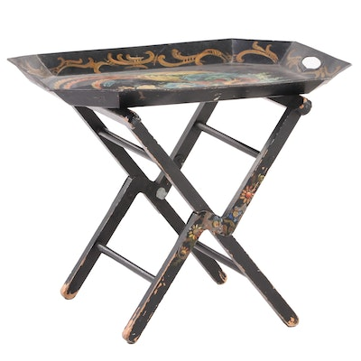 Ebonized and Paint-Decorated Tole Tray on Stand