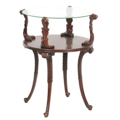 Louis XV Style Mahogany and Glass Top Tiered Side Table
