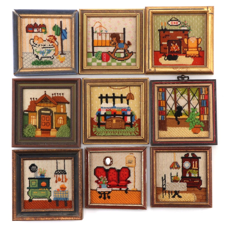 Hand-Stitched Needlepoint Panels of Domestic Scenes, 1970s