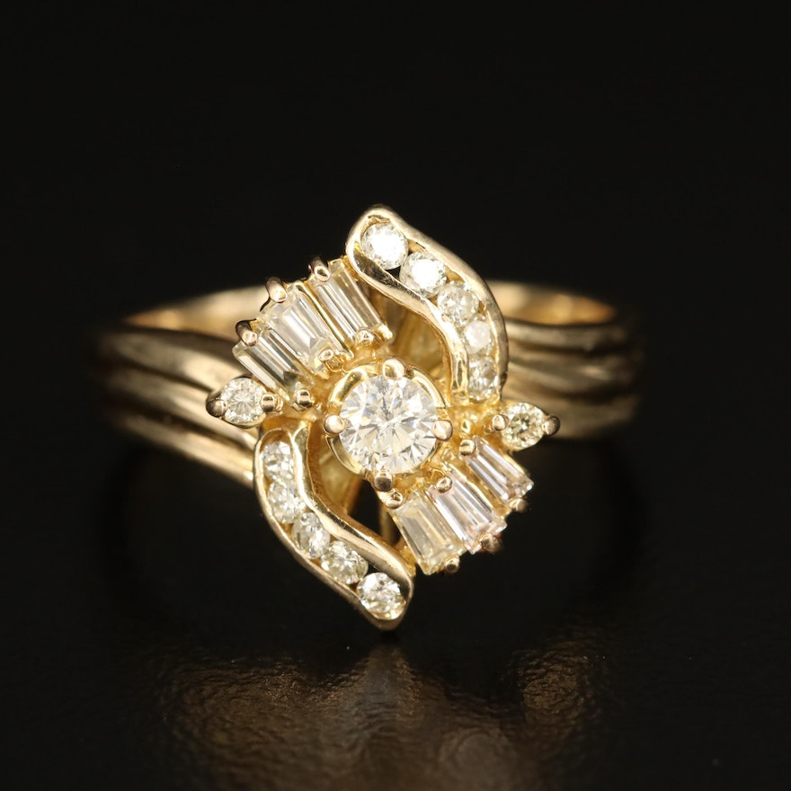 14K Diamond Cluster Ring with fluted Shoulders