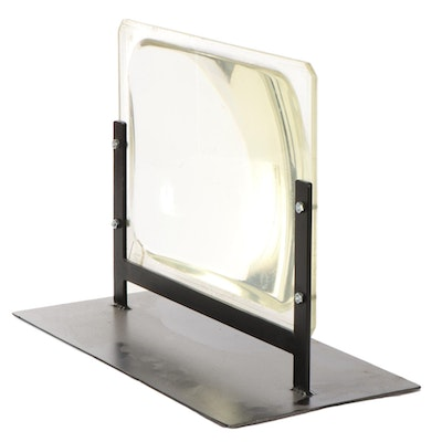Large Hands-Free Acrylic Glass Magnifier on Metal Stand