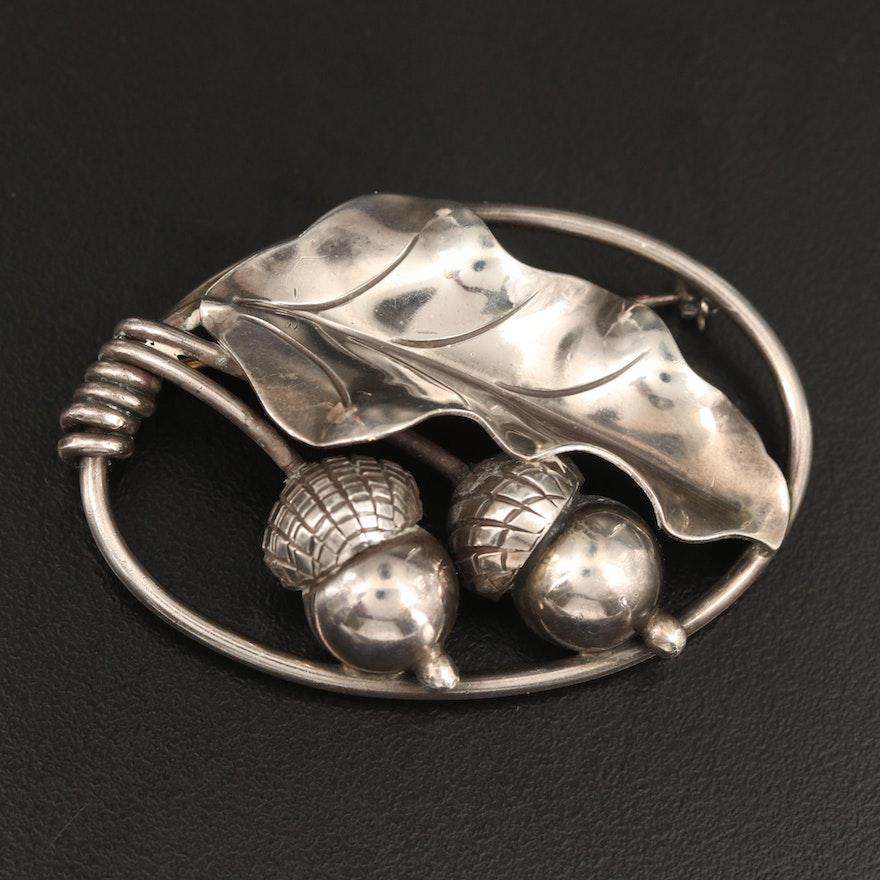 Georg Jensen U.S.A. Sterling Silver Acorn Brooch
