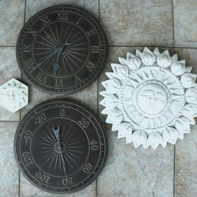 Frontgate Concrete Sunface Wall Accents, Wall Clock and Thermometer