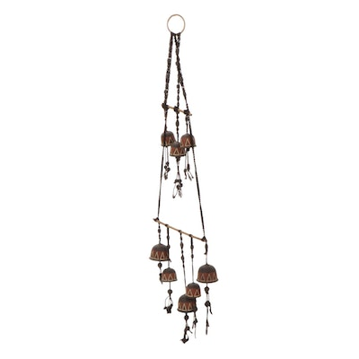 American Southwestern Style Ceramic and Macrame Bell Wall Hanging