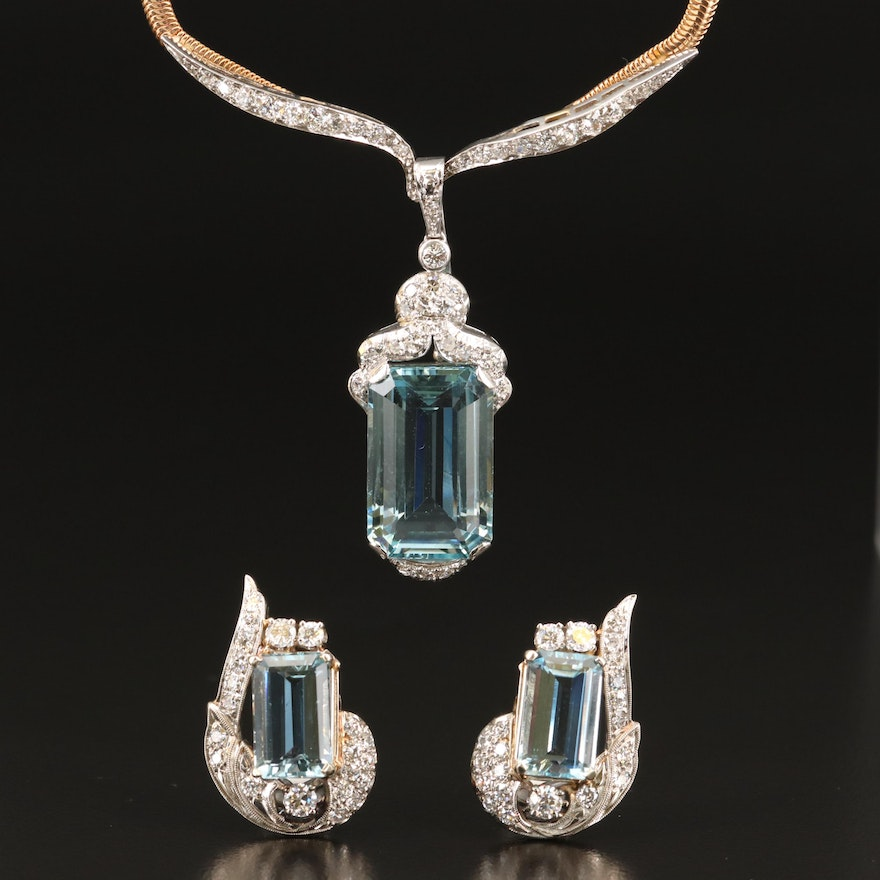 18K and 14K Aquamarine and 2.82 CTW Diamond Necklace and Earring Set