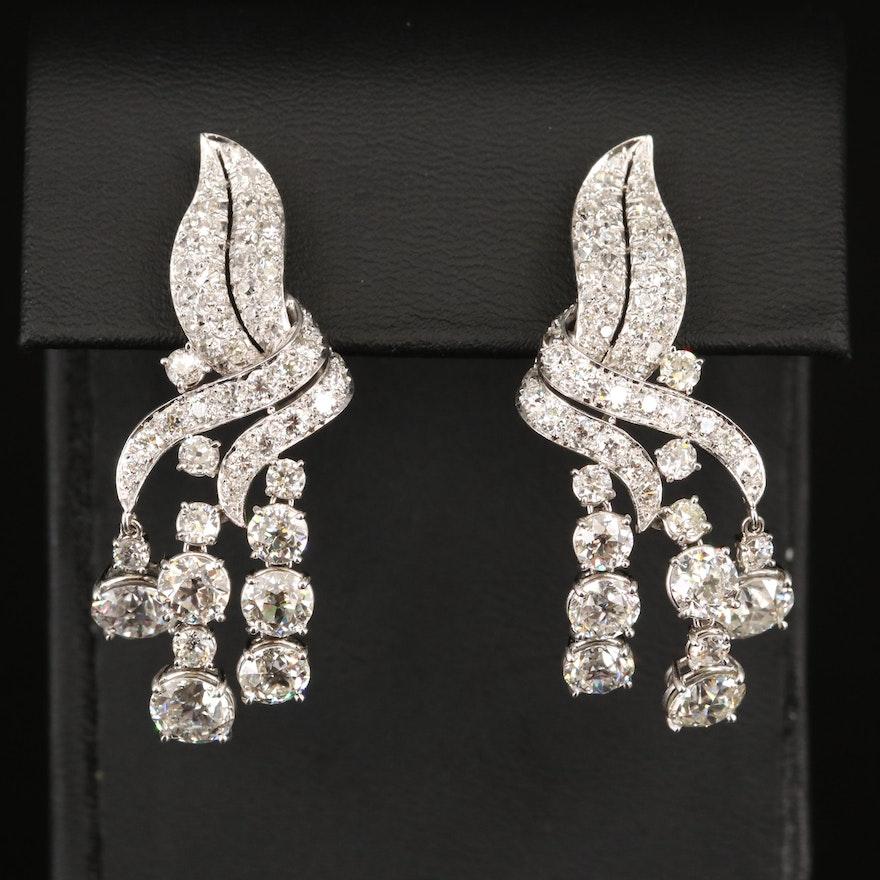 Platinum 10.96 CTW Diamond Clip Earrings