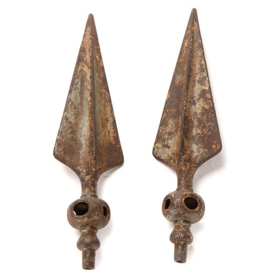 Pair of Architectural Salvage Cast Iron Spear Point Gate Finials