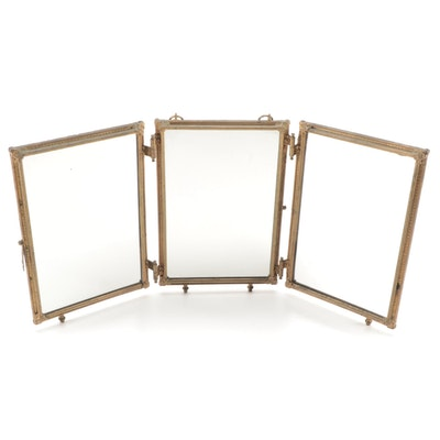 Hinged Metal Tri-Fold Shaving Mirror, Early 20th Century