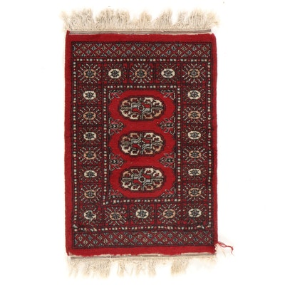 1'9 x 3'3 Hand-Knotted Pakistani Turkmen Bokhara Accent Rug