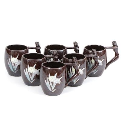 Japanese Glazed Ceramic Mugs with Female Figural Handles, Mid-20th Century