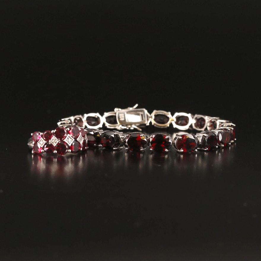 Sterling Garnet and Zircon Ring and Bracelet