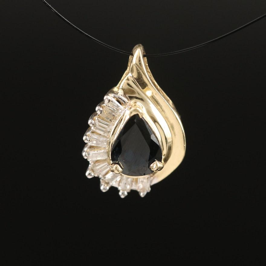 14K Sapphire and Diamond Teardrop Pendant