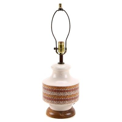 Ceramic Geometric Design Table Lamp, Mid-20th Century