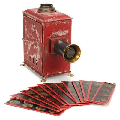 Magic Lantern Optical Projector with Glass Slides in Original Red Paint, 1880s