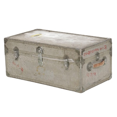 Metal Steamer Trunk with Leather Handles, Mid 20th Century