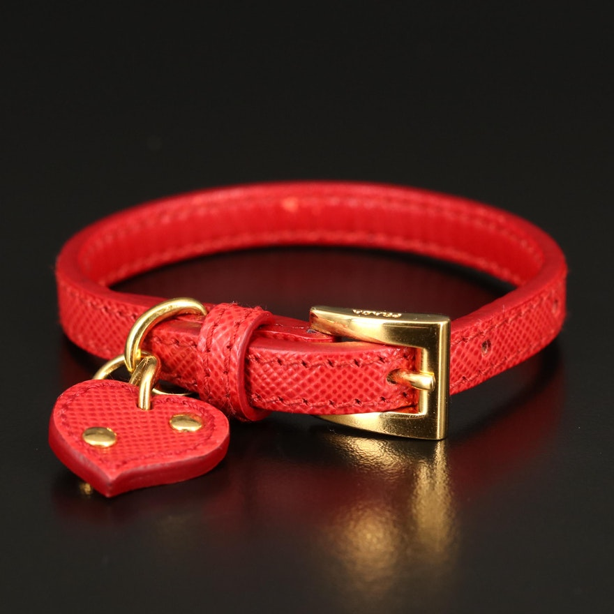 Prada Saffiano Leather Bracelet with Heart Charm