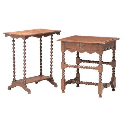 James II Style Oak Side Table with Victorian Spool-Leg Table