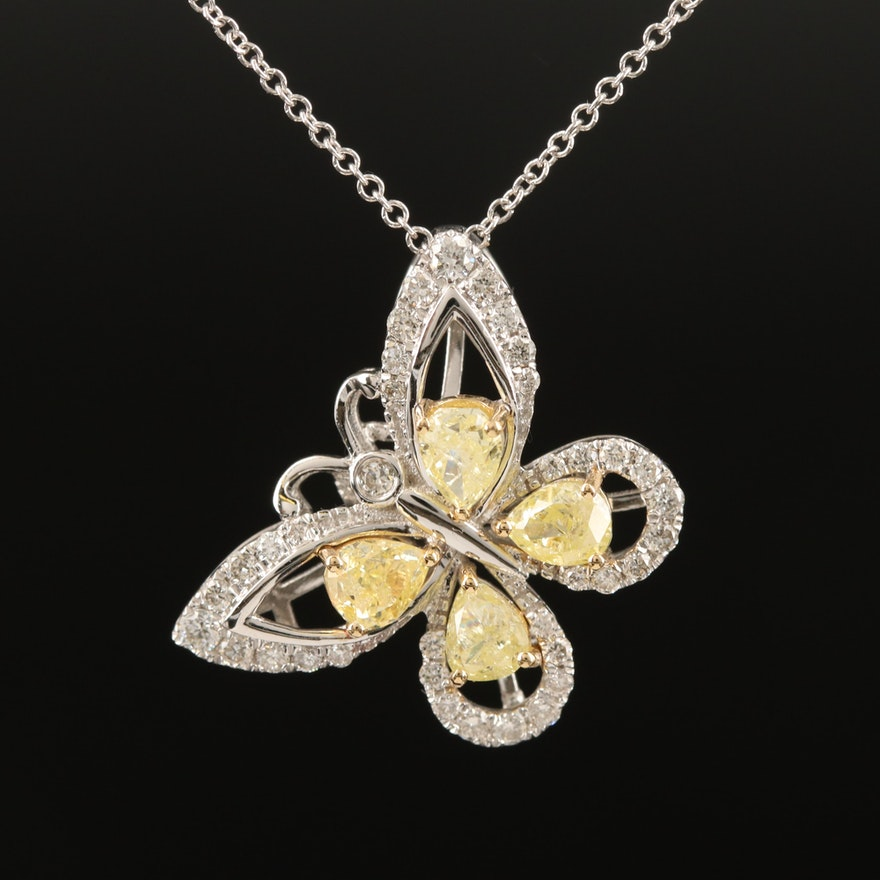 18K 1.79 CTW Diamond Butterfly Necklace