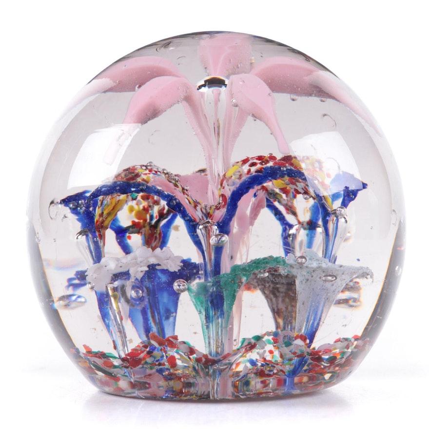 Handcrafted Flower Motif Art Glass Paperweight