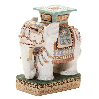 Chinese Polychrome-Glazed Ceramic Elephant-Form Garden Stool